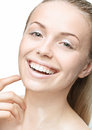 Teen girl beauty face happy smiling with wet skin Stock Image
