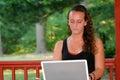 Teen Girl Behind Laptop Outdoors Horizontal Royalty Free Stock Photo