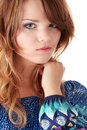 Teen girl in blue dress Royalty Free Stock Photo