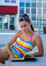 Teen girl with book Stock Photography