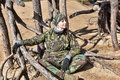 Teen girl in camouflage clothes Royalty Free Stock Photo