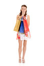 Teen girl with colorful shopping bags Royalty Free Stock Images