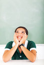 Teen girl daydreaming portrait of in classroom Stock Photos