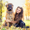 Teen girl and dog bullmastiff sit in the park in autumn Royalty Free Stock Photos