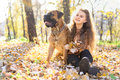 Teen girl and dog bullmastiff sit in the park in autumn Royalty Free Stock Photo