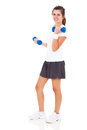 Teen girl dumbbells lifting isolated on white background Stock Image