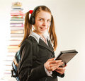 Teen girl with electronic book Stock Photo