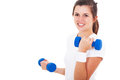 Teen girl exercising pretty with dumbbells on white background Stock Image