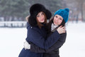Teen girl friends outdoors in winter Stock Photo