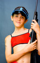 Teen Girl and gun Stock Image