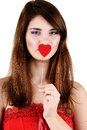 Teen girl holding heart Royalty Free Stock Image