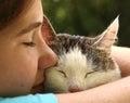 Teen girl hug cat close up portrait Royalty Free Stock Photo