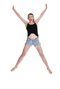 Teen girl jumping for joy Royalty Free Stock Photo