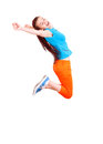 Teen girl jumping for joy Royalty Free Stock Photo