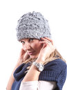 Teen girl with knit hat and cardigan geril blue Royalty Free Stock Images