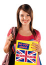 Teen girl learning english language with sign Stock Photography