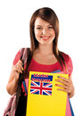 Teen girl learning english language with sign Stock Photo