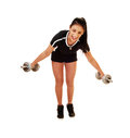 Teen girl lifting weight. Royalty Free Stock Image