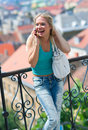 Teen girl with mobile phone Royalty Free Stock Photos