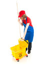 Teen Girl with Mop and Bucket Royalty Free Stock Photo