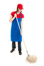 Teen Girl Mopping - Full Body Royalty Free Stock Photos
