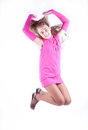 Teen girl in a pink dress posing Royalty Free Stock Photography
