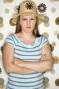Teen girl pouting with arms crossed. Royalty Free Stock Photo