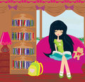 Teen girl reading a book illustration Stock Images
