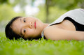 Teen girl relax thailand in the park Stock Images