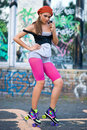 Teen girl on roller skates Royalty Free Stock Photography