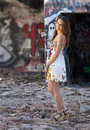 Teen Girl in Ruins Stock Images
