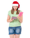 stock image of  Teen girl in Santa hat