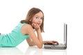 Teen girl using laptop Royalty Free Stock Photo