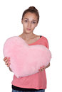 Teen girl with valentine pink heart Royalty Free Stock Photography