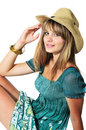 Teen girl wearing hat Royalty Free Stock Photo