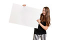 Teen girl with white large white card isolated Royalty Free Stock Photos