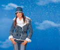 Teen girl in winter clothes Royalty Free Stock Photo