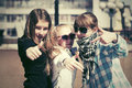 Teen girls on the city street Royalty Free Stock Photo