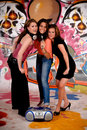 Teen girls graffiti wall Royalty Free Stock Photos