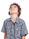 Teen with headphones looking up Royalty Free Stock Images