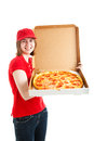 Teen jobs pizza delivery teenage girl delivering a fresh hot pepperoni isolated on white Royalty Free Stock Photos