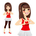 Teen love heart sign brunette girl making with her hands on her chest over a red tank top Stock Photography