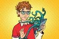 Teen and octopus in the smartphone, danger online