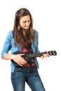 Teen playing ukulele Stock Photography