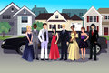 Teen in prom dress standing in front of a long limo vector illustration Royalty Free Stock Image