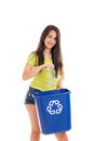 Teen recycler isolated on white Royalty Free Stock Images