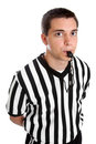 Teen referee blowing whistle Stock Photos
