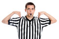 Teen referee giving time out sign a teenage blowing whistle and isolated on a white background Royalty Free Stock Photos