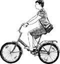 Teen riding a bicycle vector drawing of young man bike Royalty Free Stock Image