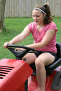 Teen Riding Mower Royalty Free Stock Images